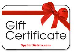 Spyder Sisters Gift Certificate - For that Spyder Ryder in Your Life