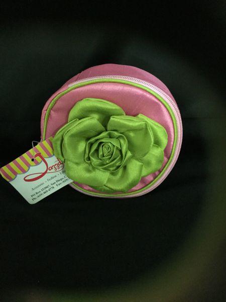 Pink round jewelry bag