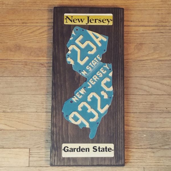 N. New Jersey License Plate Silhouette - Blue Plates