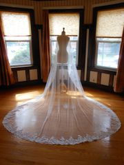 One Tier Cathedral Bridal Veil with Lace Applique Edge O001