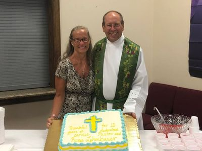 Pastor John and Renee celebrate 10 years of service at Christ Lutheran Church.