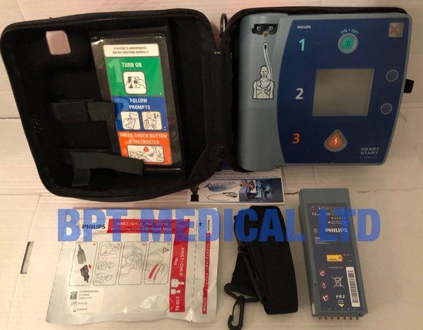 Philips HeartStart FR2+ AED Laerdal DEFIB GOOD Battery, Pads, case  Pass  Check