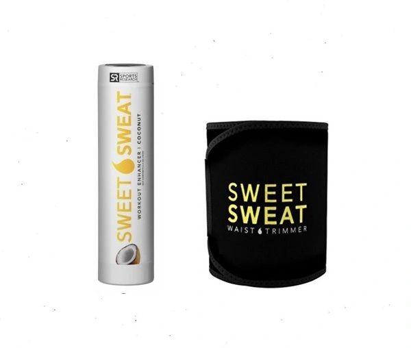 Sweet Sweat Coconut Stick 6.4oz + Waist Trimmer Belt Yellow