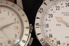 Vintage Glycine Airman gets a face and engine lift: changes in 60 years 1954 AM/PM vs 2016 re-issue.