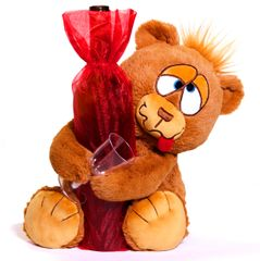 DRUNK IN LOVE BEAR W/ RED SHEER BOTTLE BAG
