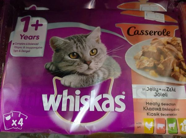 WHISKAS CASSEROLE in JELLY MEATY SELECTION 4 x 85gr