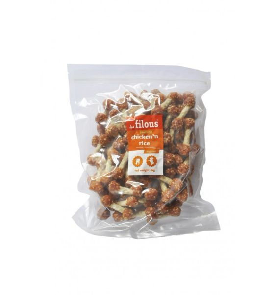 CHICKEN'N'RICE RAWHIDE STICKX1KG 100-022