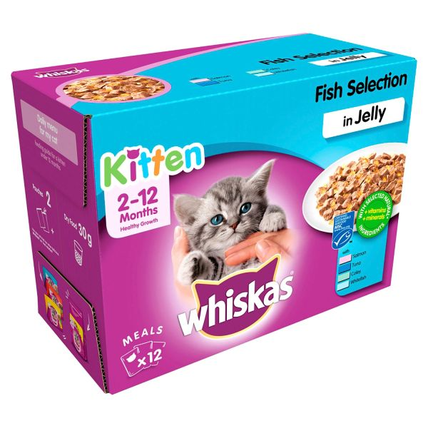WHISKAS FISH SELECTION IN JELLY KITTEN X 12