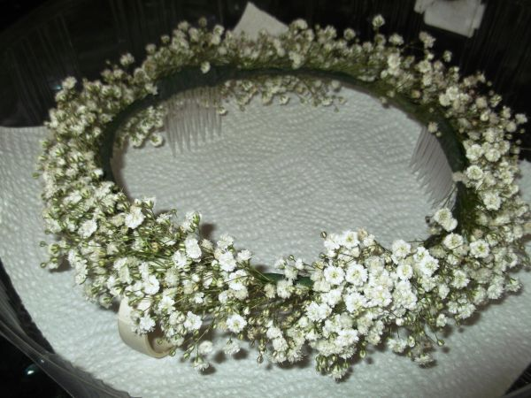 Flowergirl fresh baby's breath head dress