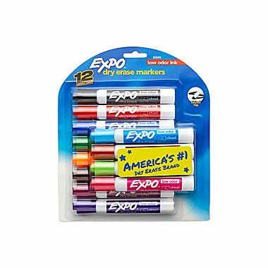 Expo® Low Odor Chisel Tip Dry-Erase Markers, Assorted, 12/pk