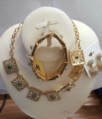 Gold Plated Deisgn Necklace 3 Pcs Set