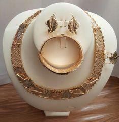 Gold Plated Leaf Design 4 Pcs Set