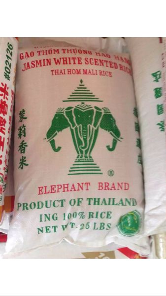 Jasmin White Scent Rice, elephant brand, product of Thailand 25 lbs