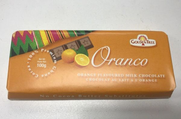 Golden Tree Chocolate Orange Flavor From Ghana 100g