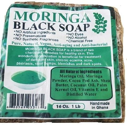RAW BLACK SOAP-MORINGA 1 LB