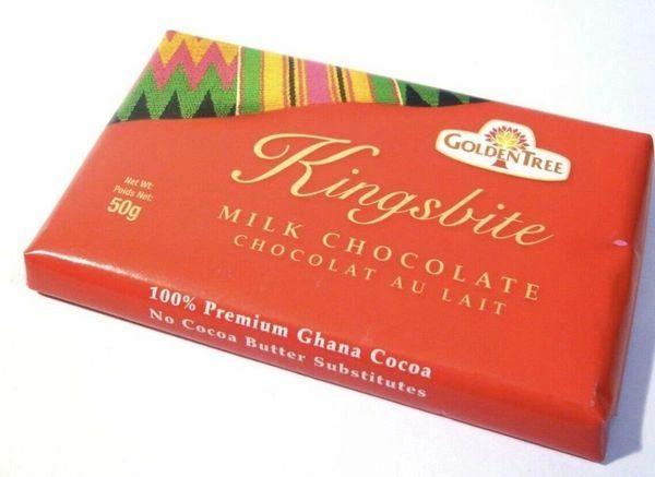One BOX of Kingsbite Golden Tree Milk Chocolate From Ghana 50g (10 BARS)