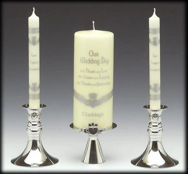 Candle Holder - Unity/Wedding - Claddagh - Mullingar Pewter