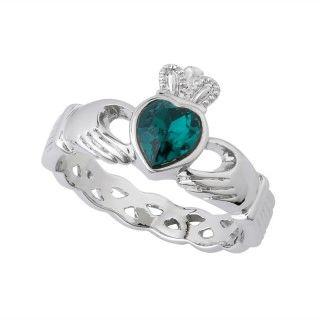 Ring - Claddagh - Green Crystal Heart - Twist Band - Rhodium - Solvar #S2973
