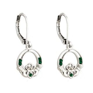 Earrings - Claddagh with Green Stones - Rhodium -Solvar #S33276