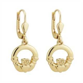 Earrings - Claddagh - Drop Lever Back - Gold Plated - Solvar #S3322