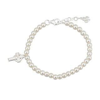 Bracelet - Child - Celtic Cross with Synthetic Pearls - Solvar #S5676