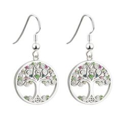 Earrings - Tree of Life with Colored Crystals - Drop Fishhooks - Rhodium - Solvar #S33400