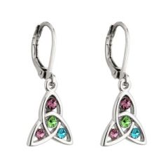 Earrings - Trinity with Colored Crystals - Drop Lever Back - Rhodium - Solvar #S33105