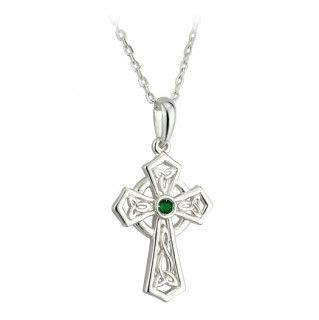 Necklace - Celtic Cross - Silver Plated with Green Crystal - Solvar #S45240