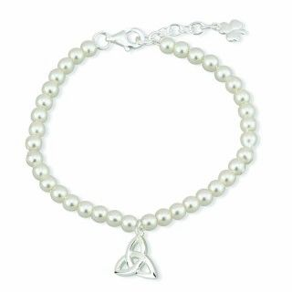 Bracelet - Child's - Trinity Knot - Silver Plated with synthetic Pearls - Solvar #S5675