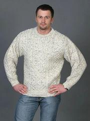 Sweater - Fisherman Knit - Wool - Crew Neck - Men's or Ladies - Fleck