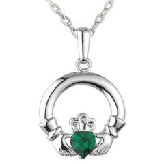 Necklace - Celtic Claddagh with Green Heart - Rhodium - Solvar #S44271