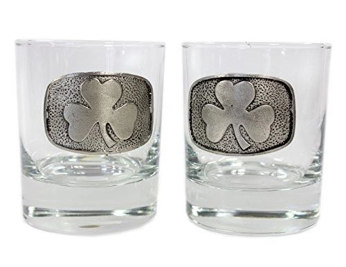 Whiskey Glass Set 2 - Celtic - Shamrock - Claddagh - Mullingar Pewter