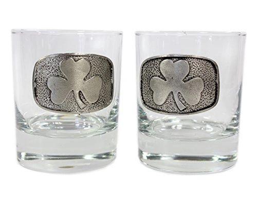 Whiskey Glass Set 2 - Celtic - Shamrock - Claddagh - Mullingar Pewter