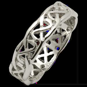 Wedding Band Ring- Narrow Full Pierced Sheelin - Fado - 14ct WG - size 7