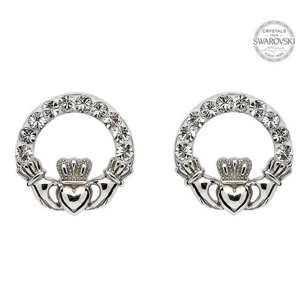 Earrings - Claddagh Stud - Sterling - Swarovski White Crystals - Shanore SW47