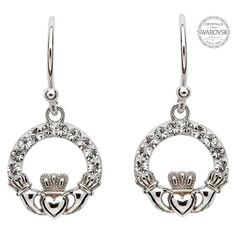 Earrings - Claddagh Drop - Sterling - White Swarovski Crystals - Shanore SW48