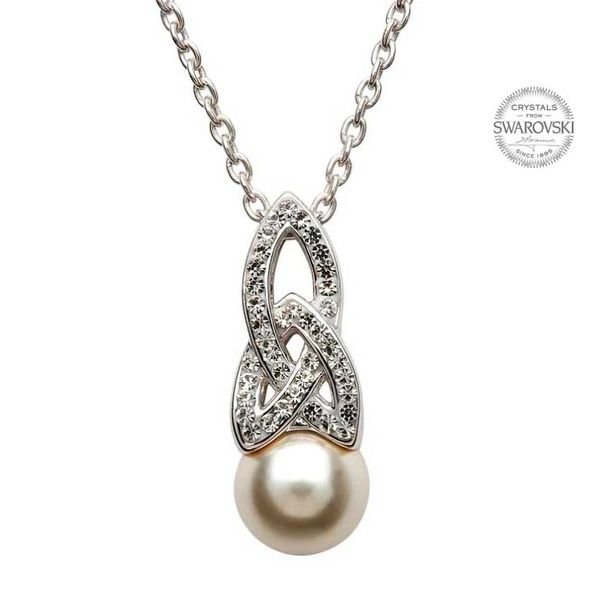 Necklace - Pendant - Trinity White Swarovski Crystals & Pearl - Sterling - Shanore #SW24