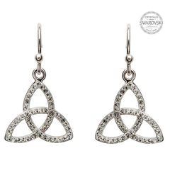 Earrings - Trinity - Drop - White Swarovski Crystals - Sterling - Shanore SW7
