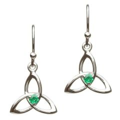 Earrings - Trinity with Green CZ - Sterling - Shanore SE2054GR