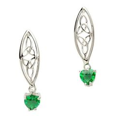 Earrings - Drop Stud - Trinity with Green CZ drop Heart - Sterling - Shanore SE2017GR