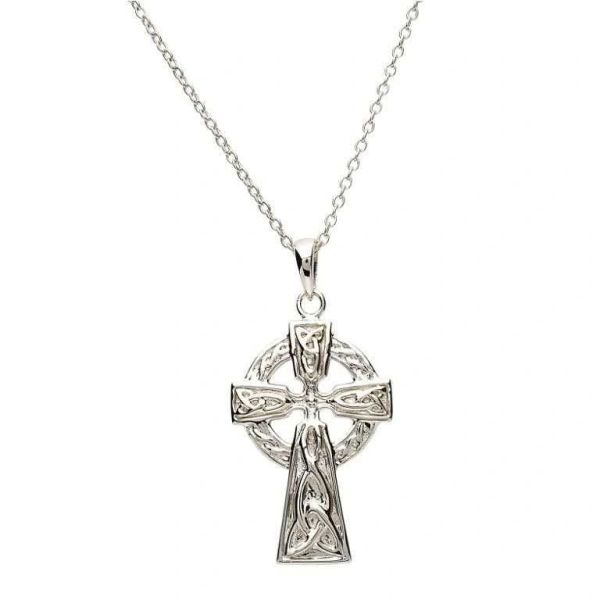 Necklace Pendant Large Celtic Cross Sterling Shanore SF25 Made in Ireland