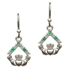 Earrings - Claddagh - Drop - Green & White CZ - Shanore SE2050