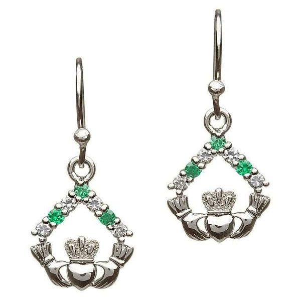 Earrings Claddagh Drop Green & White CZ Shanore SE2050 Made in Ireland