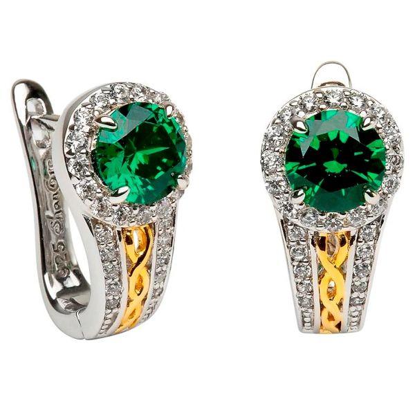 Earrings Celtic Halo Stud Sterling Shanore #SE2098GRCZ Made in Ireland