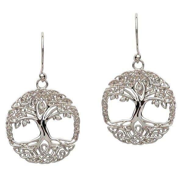Earrings Celtic Tree of Life Drop Sterling Shanore SE2103CZ Made in Ireland