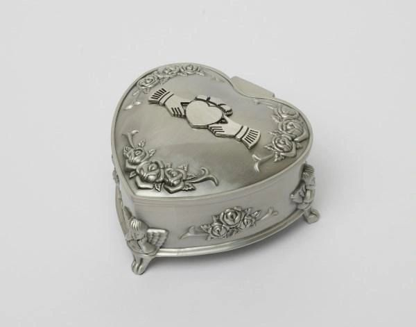 Jewelry Box Pewter Claddgh Heart Shapped Mullingar 2099 Made in Ireland