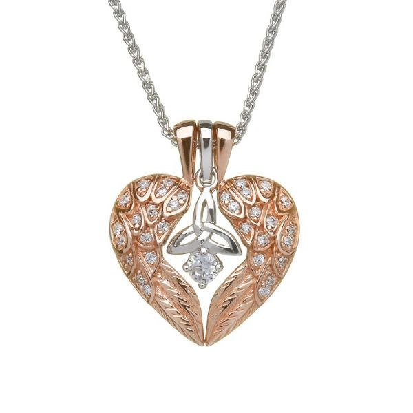 Necklace Pendant Angel wings with Trinity Rose Gold Plated Boru BP36 Made in Ireland
