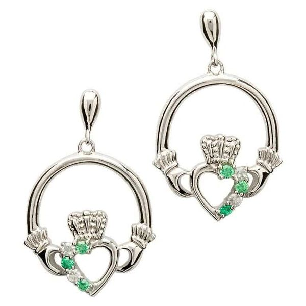 Earrings - Claddagh - Silver - Stone Set - Shanore SE1053GRCZ