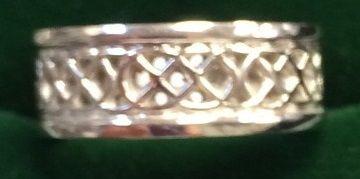 Ring - Celtic wedding Band - 14ct White Gold - size 6