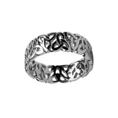 Ring - Band - Gents Trinity Knot Filagree - Silver - Boru WED144